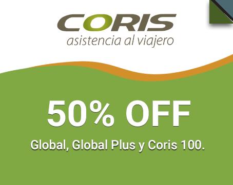 50% OFF Global, Global Plus y Coris 100.